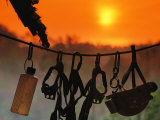 Caving Equipment and Bottle Hang on Line against a Fiery Sun and Sky Fotografie-Druck von Mark Cosslett