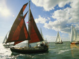 Red-Sailed Sailboat and Others in a Race on the Chesapeake Bay Reproduction photographique par Skip Brown