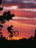 Silhouetted Biker Pulls a Wheelie at Twilight Impressão fotográfica por David Edwards