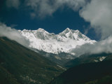 Mount Everest (Behind Left), Mount Lhotse (Front Right), and the Lhotse Wall Photographic Print by Michael Klesius