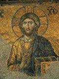 A Mosaic of Jesus at St. Sophia Hagia in Istanbul Fotografisk tryk af Tim Laman