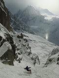 An Extreme Skier in Pas De Chevres Couloir Mount Blanc is in the Background Reproduction photographique par Gordon Wiltsie