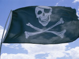The Pirate Flag Known as the Jolly Roger or Skull and Crossbones Fotografisk tryk af Stephen St. John