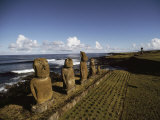 Volcanic Rock Statues, Called Moai, Stand in a Row on Ahu Akivi Fotografisk tryk af James P. Blair