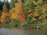 Father and Son Fish from a Canoe Amid the Autumn Foliage Stampa fotografica di Tim Laman