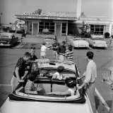 Teenagers Hanging Out at the Local Drive In Photographic Print by Hank Walker