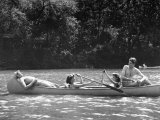 Friends Enjoying Themselves on Their Canoe Trip in the Potomac River Photographic Print by Thomas D. Mcavoy