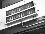 Electrical Sign Showing That the Sound and Vision Are on in the BBC Television Studio Fotografie-Druck von William Vandivert
