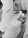 David Fredenthal Drawing Nude Model Photographic Print by Gjon Mili
