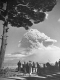 Spectators Viewing Eruption of Volcano Mount Vesuvius Photographic Print by George Rodger