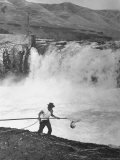 Man Fishing For Salmon in the Columbia River Photographic Print by Peter Stackpole