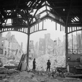 Destruction Visible During Allied Campaign to Liberate Caen During WWII Photographic Print by George Rodger
