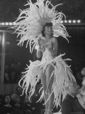 Yvonne Menard Standing on Glass Runway as Master of Ceremonies Photographic Print by Thomas D. Mcavoy