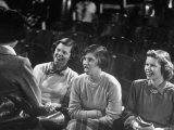 High School Student Dorothy Parker Smiling and Sitting with Others in Play Photographic Print by Yale Joel
