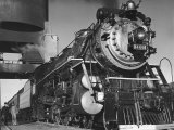 Locomotive of Train at Water Stop During President Franklin D. Roosevelt's Trip to Warm Springs Reproduction photographique par Margaret Bourke-White