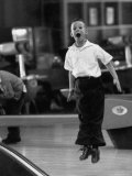 Child Bowling at a Local Bowling Alley Reproduction photographique par Art Rickerby