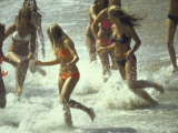 Bikini Clad Teens Frolicking in Surf at Beach Photographic Print by Co Rentmeester