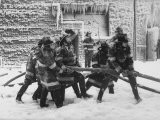 Firemen Fighting a Fire During Icy Weather Fotografisk tryk af Al Fenn