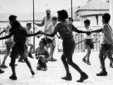 Jewish Children at Religious School Dancing Israel Folk Dances at Recess Photographic Print by Paul Schutzer