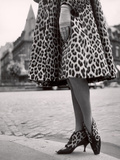 Laced Bootees of Leopard, to Match Coat, Designed by Dior Reproduction photographique par Paul Schutzer