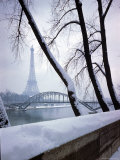 Snowfall in Paris: Passerelle Debilly and Eiffel Tower Photographic Print by Dmitri Kessel