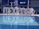 """School Children Playing on Olympic Logo """"Mexico 68"""" Beside Pool Fotografisk trykk av John Dominis"""