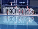 """School Children Playing on Olympic Logo """"Mexico 68"""" Beside Pool Photographic Print by John Dominis"""
