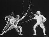 Multiple Exposure of New York University Fencing Champion Arthur Tauber Parrying with Sol Gorlin Fotografie-Druck von Gjon Mili