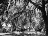 Quail Hunters Riding on Horseback Lámina fotográfica por Ed Clark