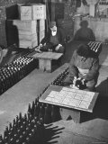 Men Putting Labels on Wine Bottles Photographic Print by Ralph Morse
