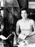 Mrs. John F. Kennedy During Her Tour of India Premium fotografisk trykk av Art Rickerby