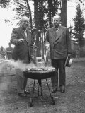 President Dwight D. Eisenhower Cooking Steaks with Former President Herbert C. Hoover Photographic Print by Walter Sanders