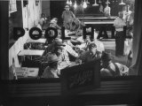 Scene from a Small Town Pool Hall, with People Just Hanging Out and Relaxing Fotografisk tryk af Loomis Dean
