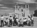People Sketching Outside Ranchos de Taos Mission Church Photographic Print by Thomas D. Mcavoy