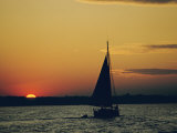 Skipjack Silhouetted at Sunset Photographic Print by Emory Kristof