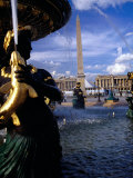 Fountain with Luxor Obelisk and Place De La Concorde in Background, Paris, France Photographic Print by Levesque Kevin