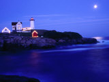 Nubble Lighthouse Alight Underneath Moon-Lit Sky, Cape Neddick, USA Photographic Print by Levesque Kevin
