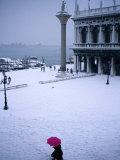 Piazetta of San Marco in Winter, Venice, Veneto, Italy Fotografisk tryk af Roberto Gerometta