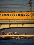 Train Sobu traversant la rivière Sumida-Gawa, Tokyo, Japon Reproduction photographique par Martin Moos