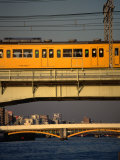 Sobu Train Crossing Sumida-Gawa River, Tokyo, Japan Lámina fotográfica por Martin Moos