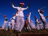 Stick Dancers Performing at Annual Elephant Festival, Jaipur, India Fotografisk tryk af Paul Beinssen