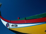 Decorated Prow of a Wooden Seaweed Fisherman's Boat in Murtosa, Azores, Portugal Photographic Print by Jeffrey Becom