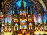 Interior of the Notre Dame Basilica of Vieux Montreal, Montreal, Quebec, Canada Photographic Print by Setchfield Neil