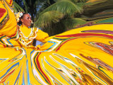 Dancers Performing in Costume, Costa Maya, Mexico Fotografie-Druck von Bill Bachmann
