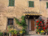 Old Home with Flowers at San Gimignano, Tuscany, Italy Fotoprint van Bill Bachmann