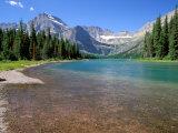 Lake Josephine-søen med Grinnell-gletsjeren og Rocky Mountains, Glacier Nationalpark, Montana Fotografisk tryk af Jamie & Judy Wild