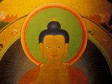 Buddha on a Thanka Painting, Tibet Fotografisk tryk af Vassi Koutsaftis