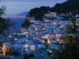 Evening View of Capri Town from Via Castello, Bay of Naples, Campania, Italy Fotografisk tryk af Walter Bibikow