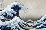 De grote golf van Kanagawa, uit de reeks: 36 uitzichten op de berg Fuji, ca.1829 Poster van Katsushika Hokusai