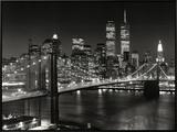 New York, New York, Brooklyn Bridge Framed Canvas Print by Henri Silberman
